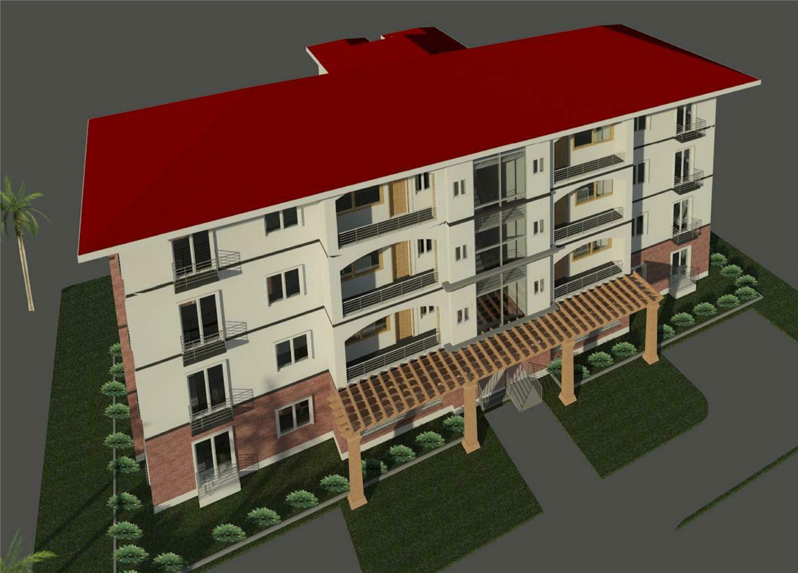 MAJ 1040 -02- 3 BEDROOM BLOCK OF FLATS - 4 FLRS - Rendering - 3D View 2_1